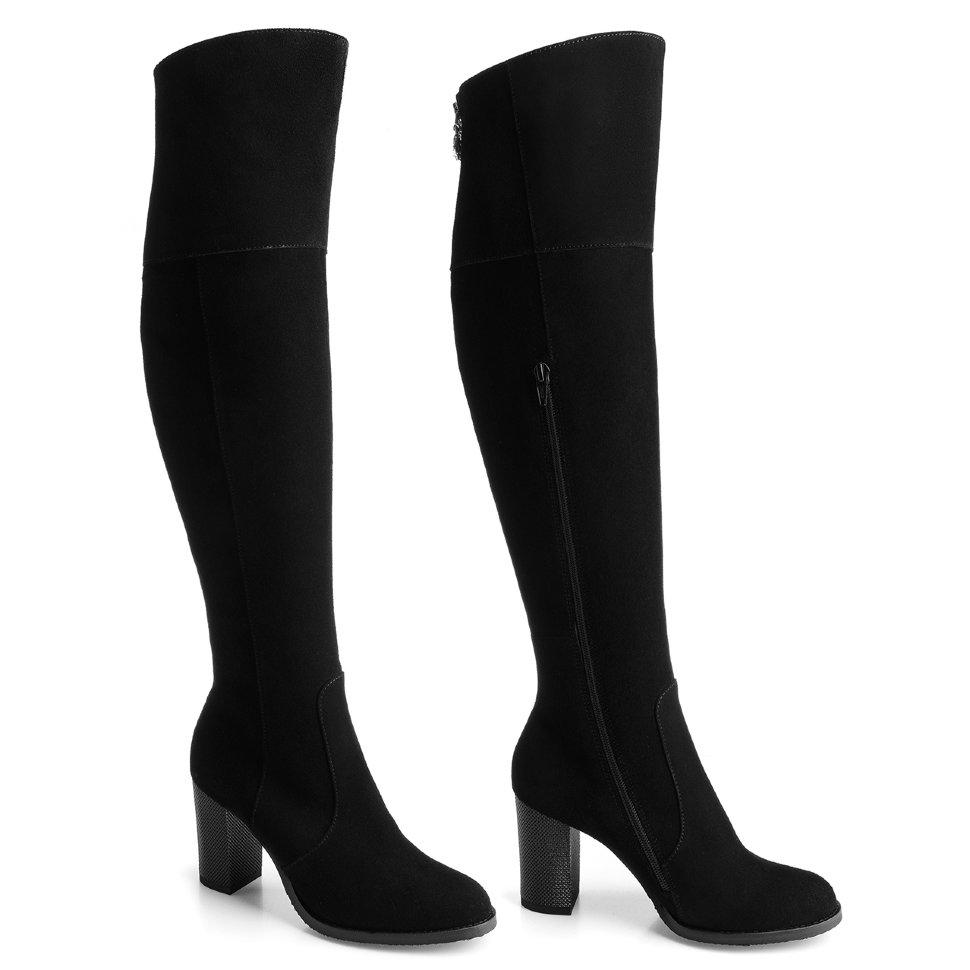 eb5c9ef83 Высокие ботфорты на среднем каблуке. Модель 1239 н евро замша (зима)